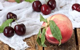 Картинка вишня, фрукты, персик