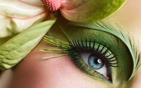 Картинка цветок, лицо, глаз, ресницы, макияж, тени, бровь