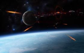 Картинка космос, война, битва, уничтожение, spaceships