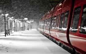 Обои поезд, Зима, люди, метель