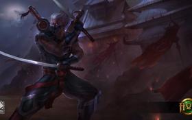 Обои ночь, меч, катана, убийца, Heroes of Newerth, Shadowblade, Husher
