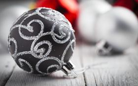 Обои серый, узор, игрушка, шар, шарик, Новый Год, Рождество