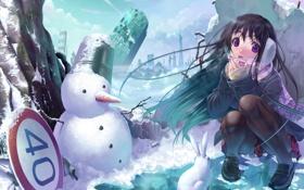 Обои зима, снег, город, знак, аниме, девочка, снеговик