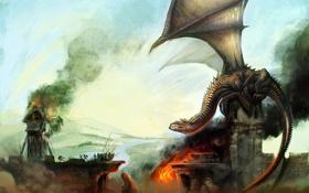 Картинка мост, замок, огонь, дракон, дым, армия, арт