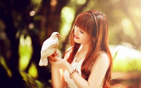 Картинка взгляд, девушка, птица, азиатка
