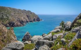 Картинка море, небо, камни, скалы, бухта