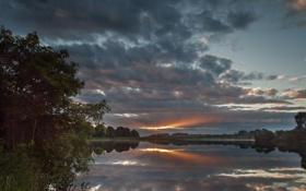 Картинка солнце, лучи, озеро, вечер