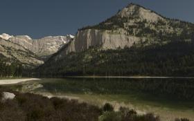 Обои лес, горы, озеро, отражение, скалы, арт