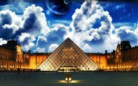 Обои париж, лувр, ночь, небо, планеты