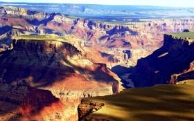 Обои скалы, тени, Grand Canyon
