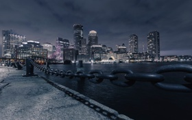 Картинка река, ночь, Massachusetts, Boston