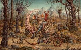 Обои велосипед, сюрреализм, графика, Ben Blatt