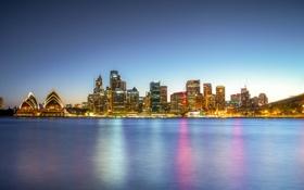 Картинка море, мост, отражение, зеркало, горизонт, Австралия, Сидней