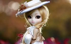 Картинка игрушка, шляпа, кукла, блондинка, сумочка, длинные волосы
