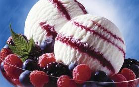 Картинка ягоды, малина, сладость, мороженое