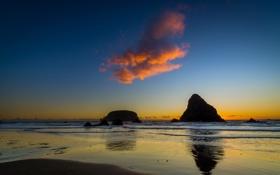 Обои море, пейзаж, закат, облако