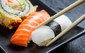 Обои salmon, роллы, fish, sticks, rolls, японская кухня, stuffing