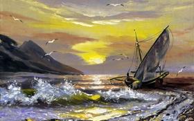 Картинка море, волны, небо, облака, птицы, скалы, корабль