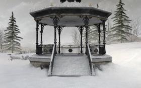 Картинка зима, снег, природа, ели, беседка