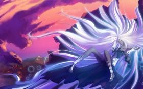 Картинка небо, девушка, задумчивость, разрушения, белые, длинные волосы, богиня