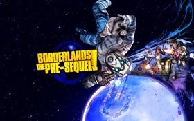Картинка borderlands 2, космос, ниша, железяка, планета, персонажи, the pre-sequel
