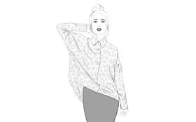 Обои девушка, блуза, юбка, карандаш
