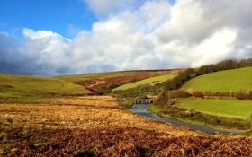 Картинка облака, небо, ручей, Великобритания, ландшафт, мост, луга