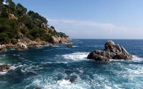 Картинка скалы, деревья, горы, небо, волны, море