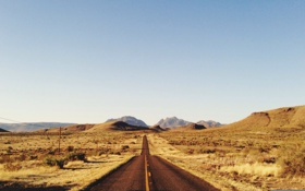 Обои road, sky, field, mountains, hills, sunny