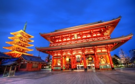 Картинка Япония, Токио, Asakusa Kannon Temple, Japan, Sensoji Temple, Tokyo, храм