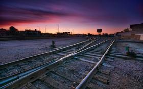 Обои закат, город, железная дорога