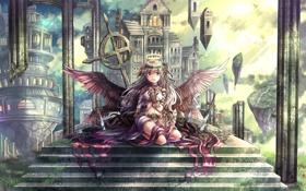Обои череп, здания, Девушка, крылья, мечи