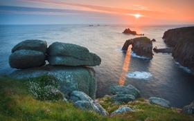 Картинка море, небо, вода, солнце, лучи, свет, природа