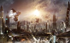 Обои огни, здания, арт, небоскрёбы, город будущего
