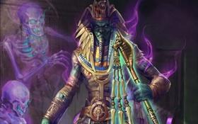 Картинка бог, дух, арт, жезл, скелеты, Osiris