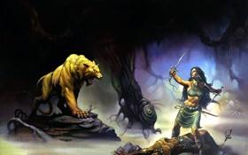 Обои девушка, меч, воин, пещера, зверь