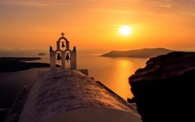 Обои море, закат, Oia, Greece, Notio Aigaio
