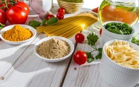 Картинка зелень, масло, сыр, помидоры, спагетти, приправа