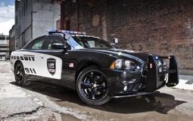 Обои стена, полиция, кирпич, лужа, седан, додж, Police