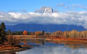 Картинка осень, лес, небо, облака, озеро, гора
