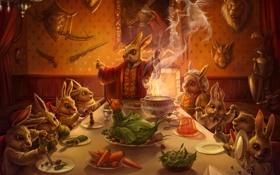 Обои стол, еда, семья, арт, кролики, трофеи, ужин