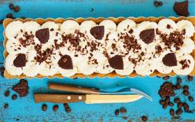 Картинка пирог, вилка, шоколад, крем, выпечка, нож, кофейные зерна