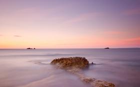 Картинка пляж, пейзаж, океан, скалы, рассвет, берег