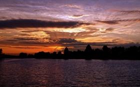 Обои закат, пейзаж, водоём, небо, природа, река, вечер