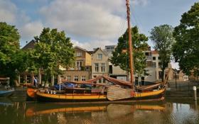 Картинка причал, Нидерланды, набережная, Netherlands, Schiedam, Схидам