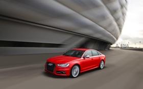 Картинка Audi, Красный, Авто, Ауди, Седан, Передок, В Движении