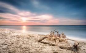 Картинка песок, море, замок