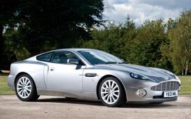Обои фон, Aston Martin, серебристый, суперкар, кусты, V12, передок
