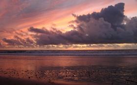 Обои закат, пляж, берег