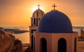 Обои море, закат, город, вид, Санторини, Греция, церковь